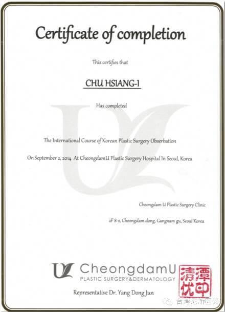 尼斯診所-上海分院-朱湘儀院長-雷射光療-全臉微整型-韓國韓國進修結業證書